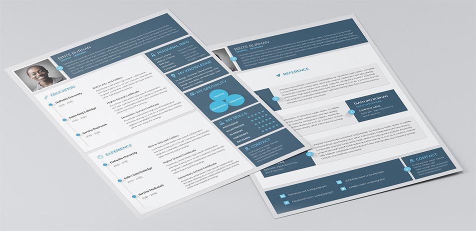 dark blue resume template