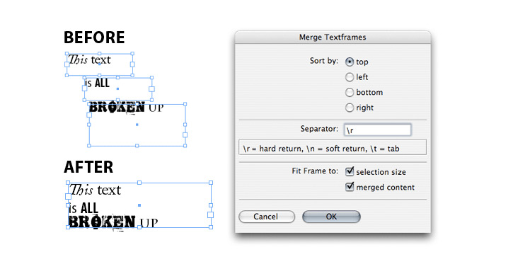 merge text frames indesign