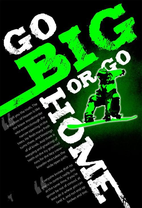 Big Typography Snowboarding Poster