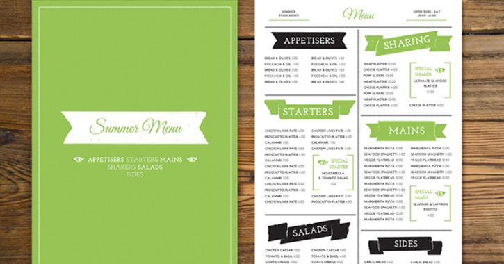 trendy print menu tutorial indesign