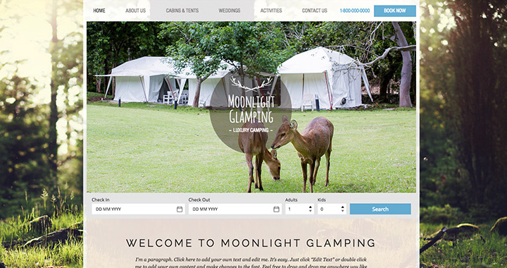 Moonlight Glamping Website by Wix