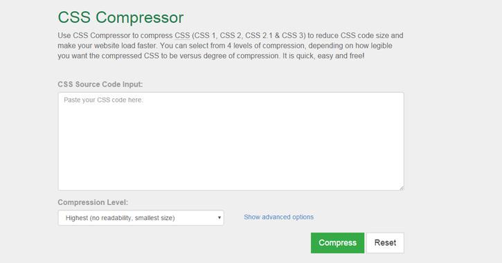 CSS compressor webapp
