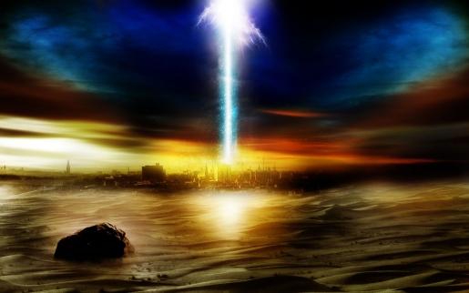 Distant Desert City Scene with Energy Ray Blast