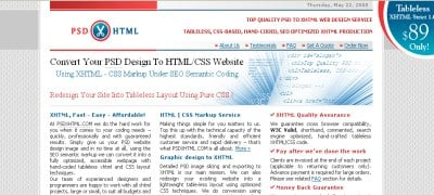 PSD to XHTML
