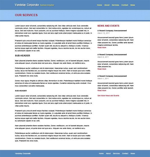 Vandelay Corporate Website Template