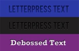 Letterpress and Deboss Text Styles
